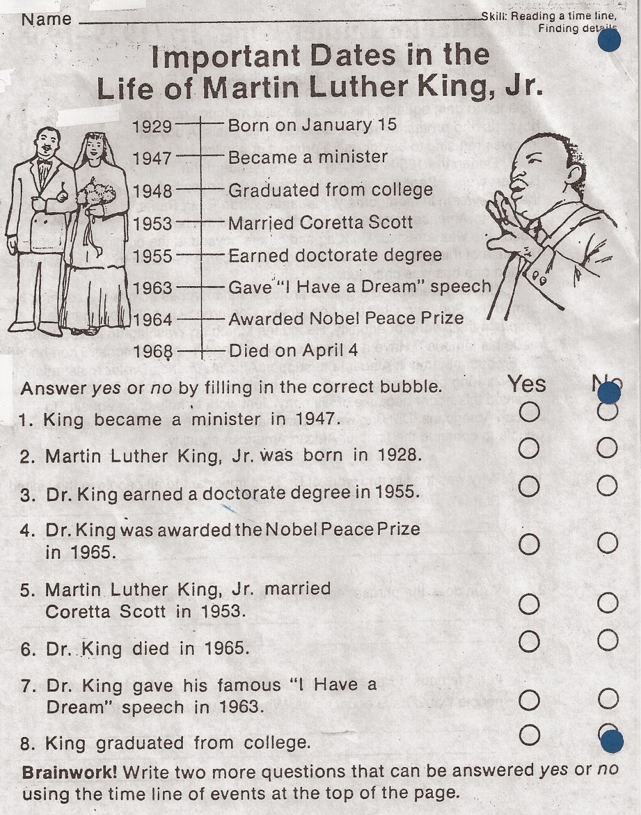 ELEMENTARY SCHOOL ENRICHMENT ACTIVITIES MARTIN LUTHER KING DAY – Martin Luther King Worksheet