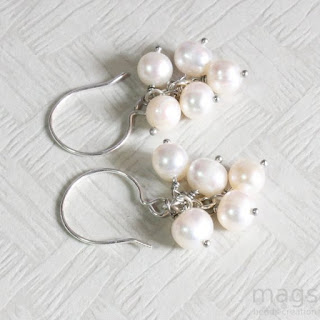 Cluster Pearls Earrings by MagsBeadsCreation