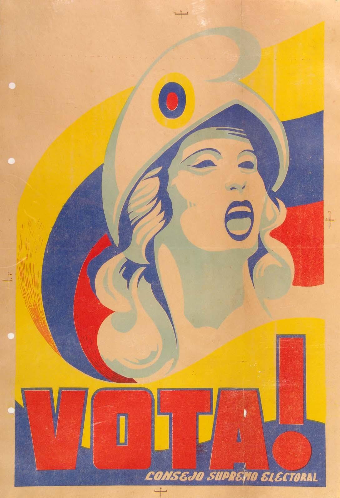 Impresión litográfica de la elección de 1947, donde fue electo Rómulo Gallegos