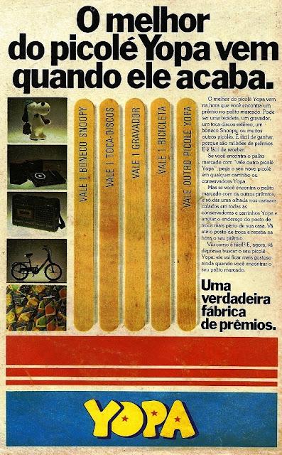 Propaganda do Picolé Yopa (palitos premiados) em 1980