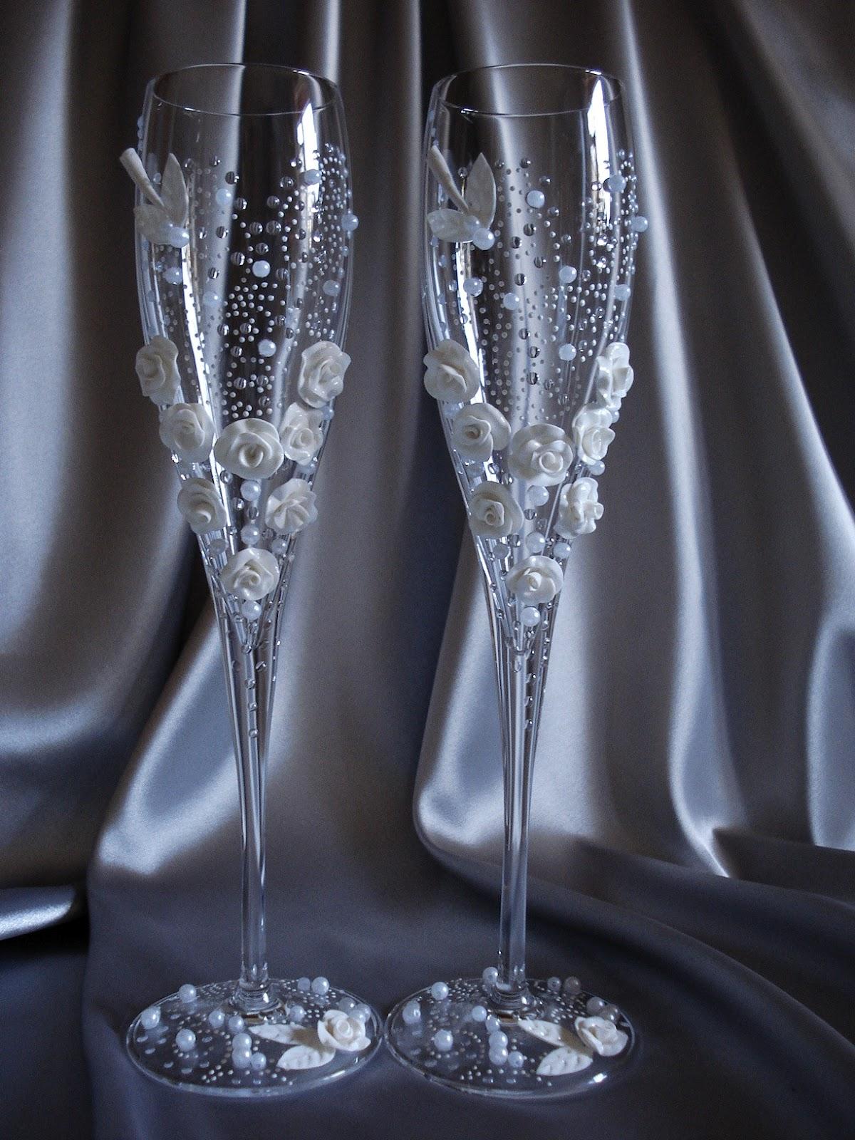 Свадебные бокалы сделать своими руками