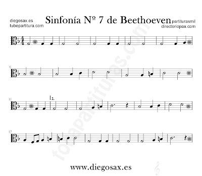 Sinfonía nº 7 de Beethoven partitura para viola en clave de Do