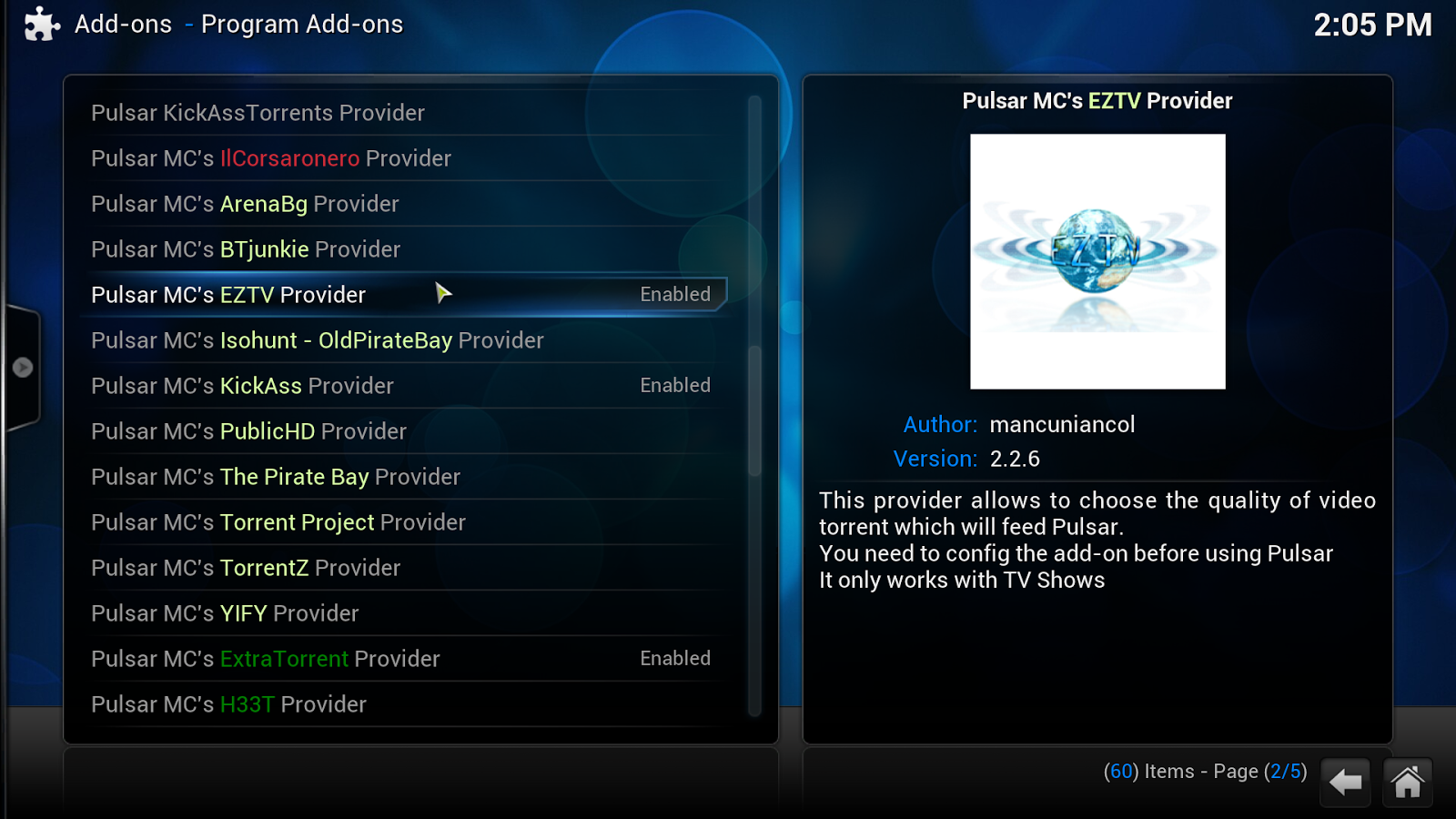 Kodi Pulsar torrents