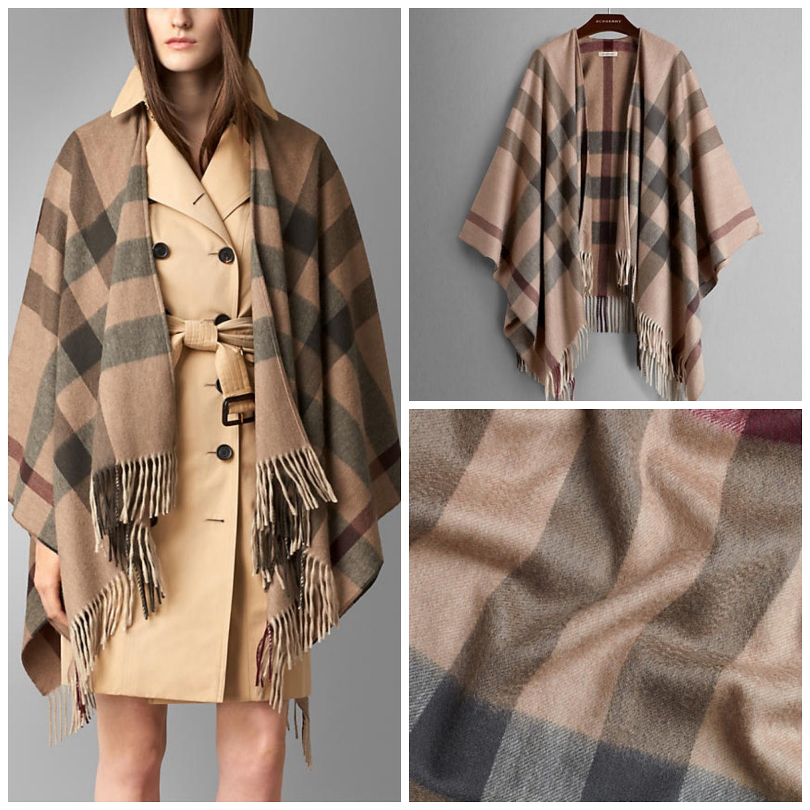 Burberry Check Cashmere and Wool Poncho 2018 Unisex Sale Online Clearance Classic Buy Cheap Discounts Clearance Official Site qyO0Tdm71