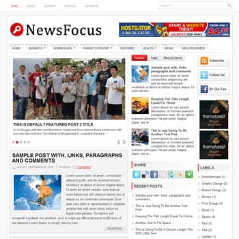 News Focus blog template. template image slider blog. magazine blogger template style. wordpress theme to blogger. template blog 3 column