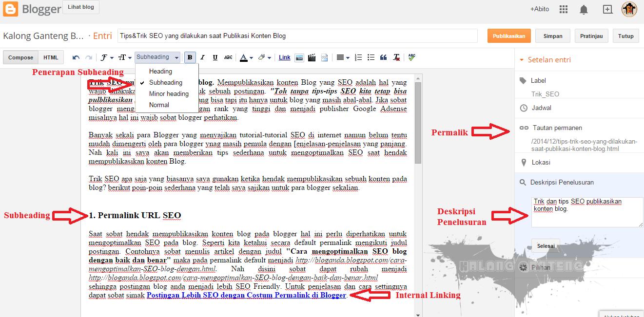 Tips&Trik SEO yang dilakukan saat Publikasi Konten Blog