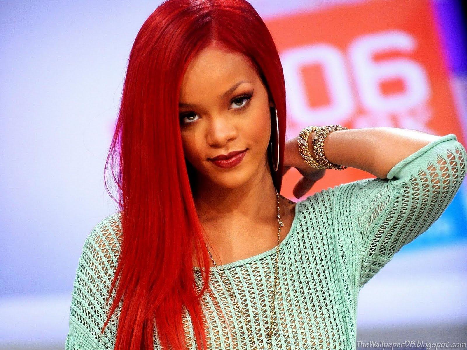 Rihanna Long Red Hair Style HD Wallpaper ~ The Wallpaper