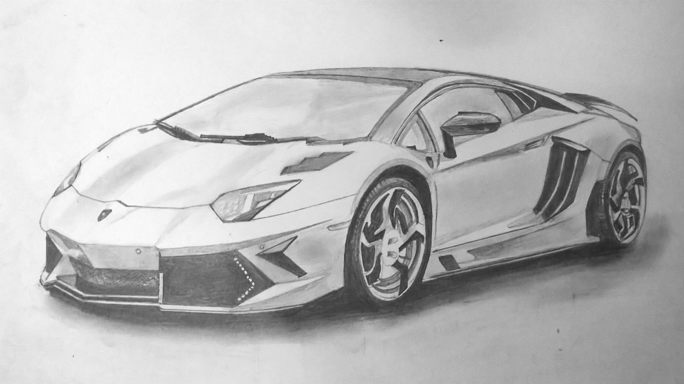 Sourcewing: Lamborghini Aventador pencil sketch