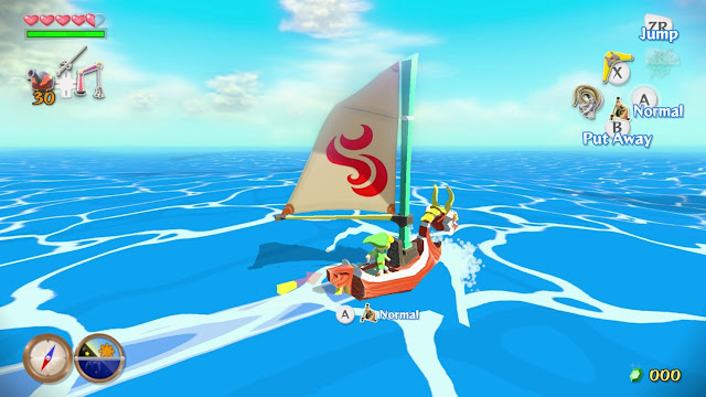 """Image of Link sailing on his boat, the King of Red Lions, in the Wii U game """"The Legend of Zelda: The Wind Waker HD."""""""