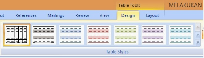 Tampilan Design Table Styles