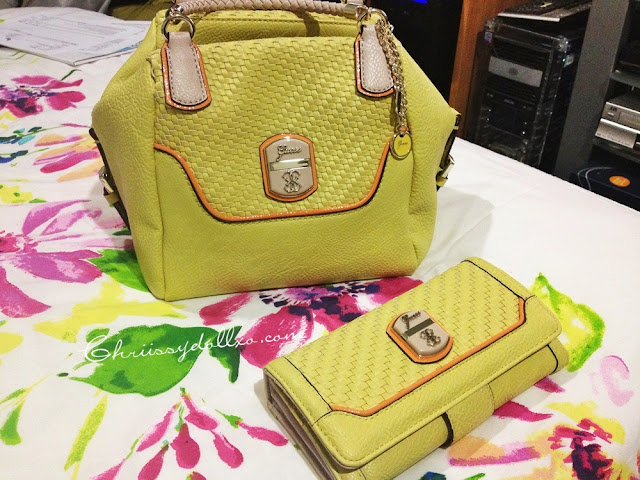 Guess Makala Satchel and Woven Organizer Clutch in Yellow