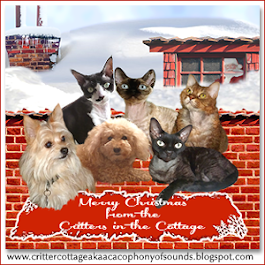 Merry Christmas! Love , the critters in the cottage: Our card to You.