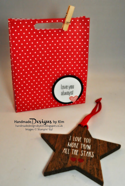 Handmade Valentines Gift Bag using Stampin' Up! Products to fit Sainsburys Wooden Star