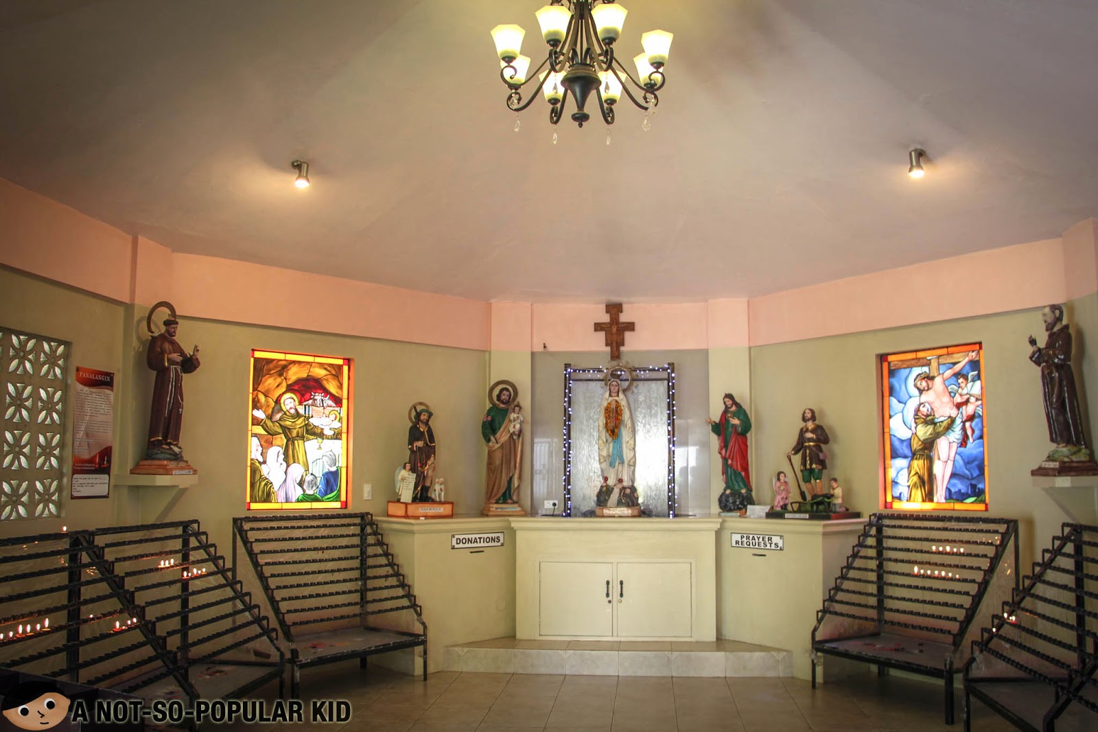 The solemn interior of the Candle Chapel in Tagaytay