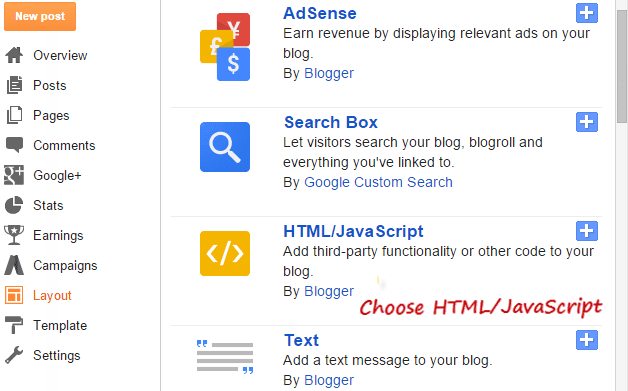 add html/javascript blogger