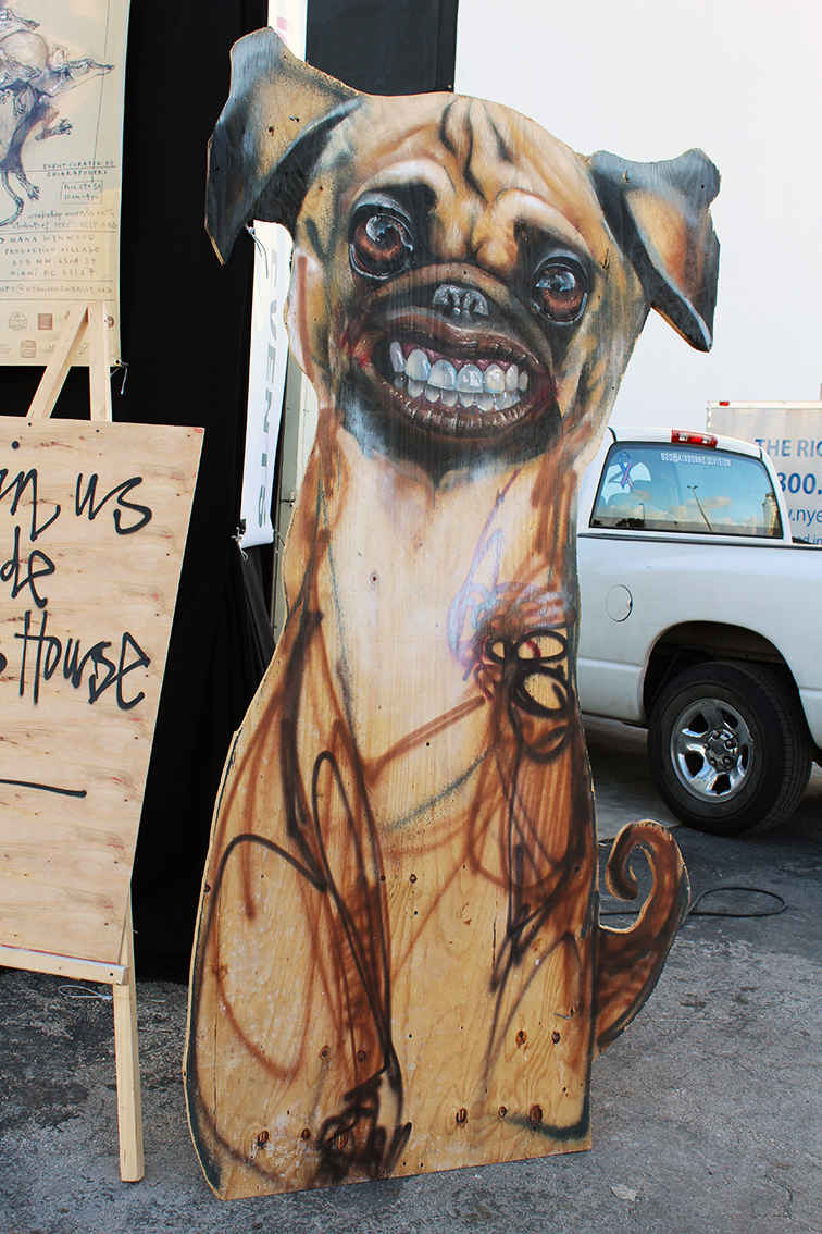 Herakut solo exhibition at Miami Art Basel 2014 at Mana Wynwood, smiling dog