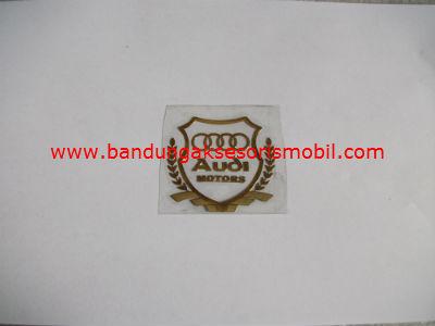Emblem Alumunium Kotak Kecil Logo Mobil Audi