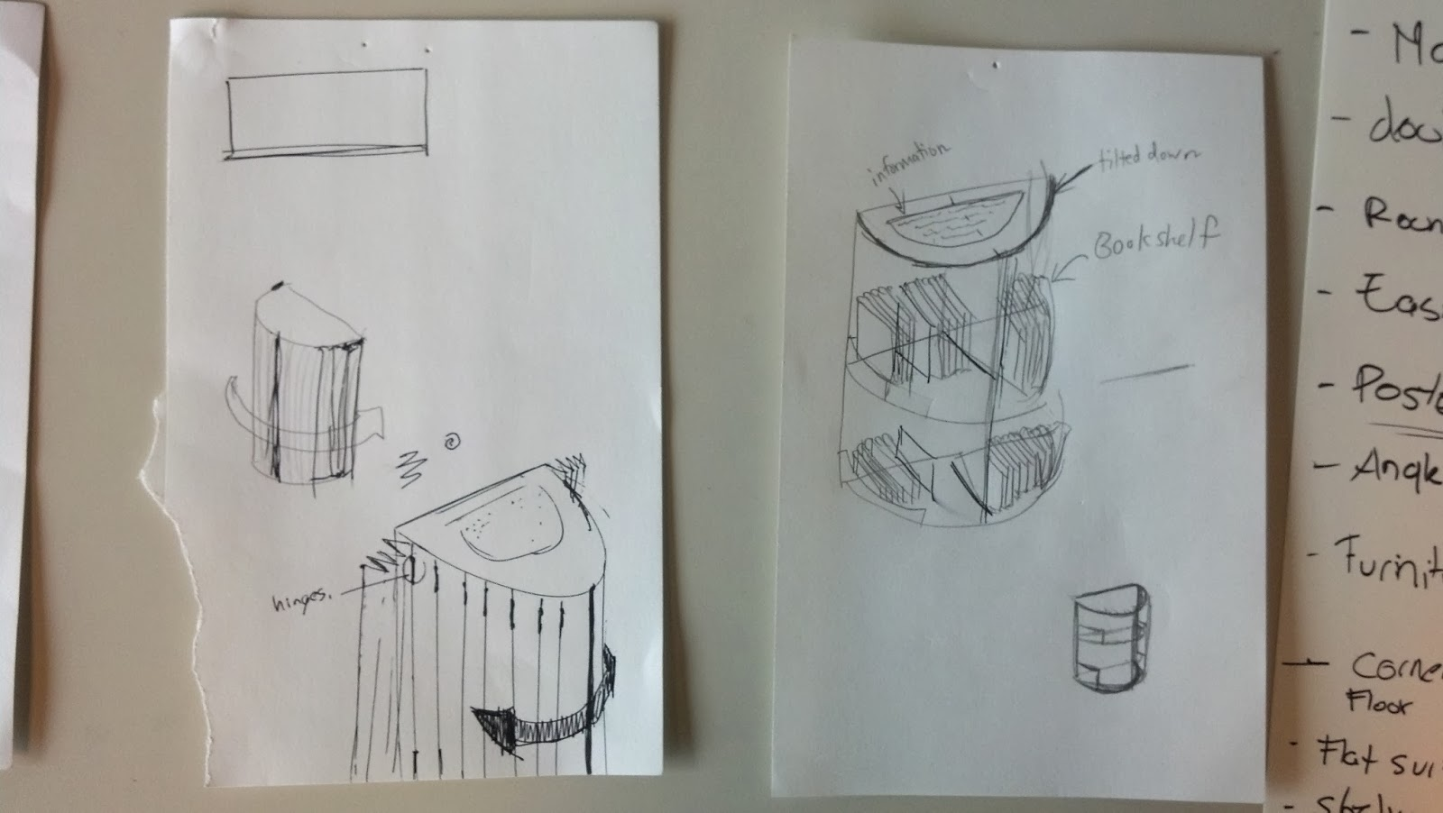 Image shows two pages with sketches pinned to a wall. The sketches contain ideations of a fold-able screen door for the side shelves along with a sketch of books on the shelves.