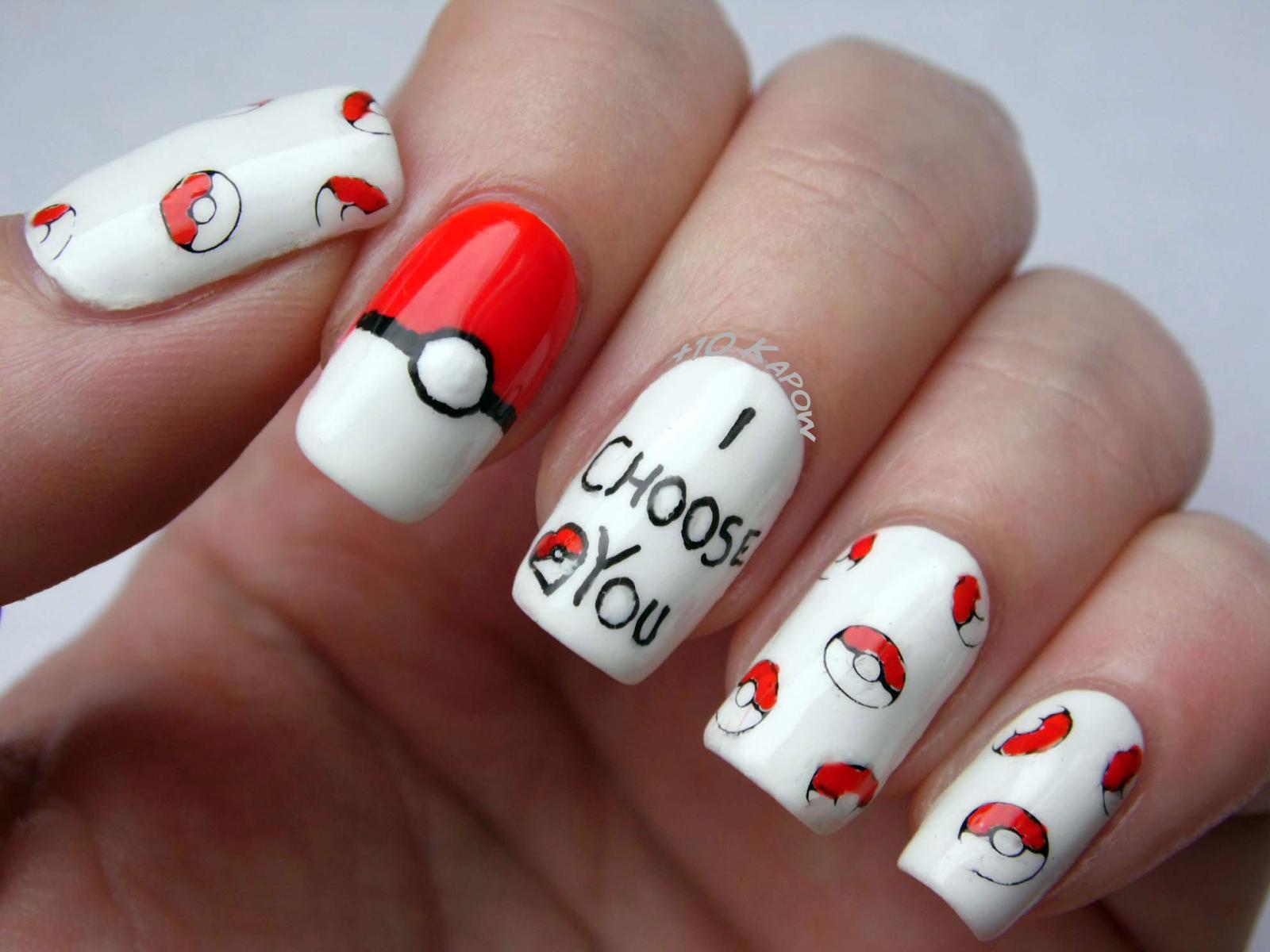 Pokemon Valentines Nails
