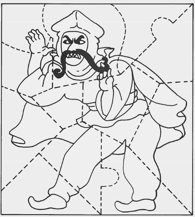 color this picture of the evil haman then cut along the lines to make a puzzle great for the classroom or at home