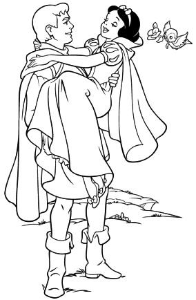Dibujo de Blancanieves cuando su principe le lleva en brazos osea le carga para colorear pintar