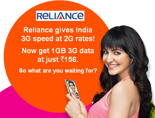 Reliance 1 GB 3G for Rs 19