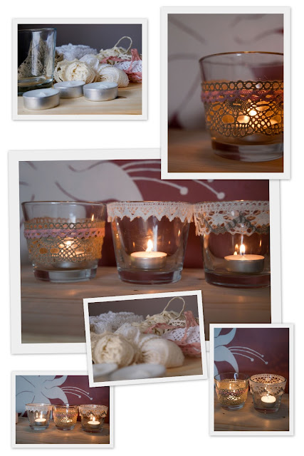 #candle, #candlestick, #winter evenings, #diy, #linen lace