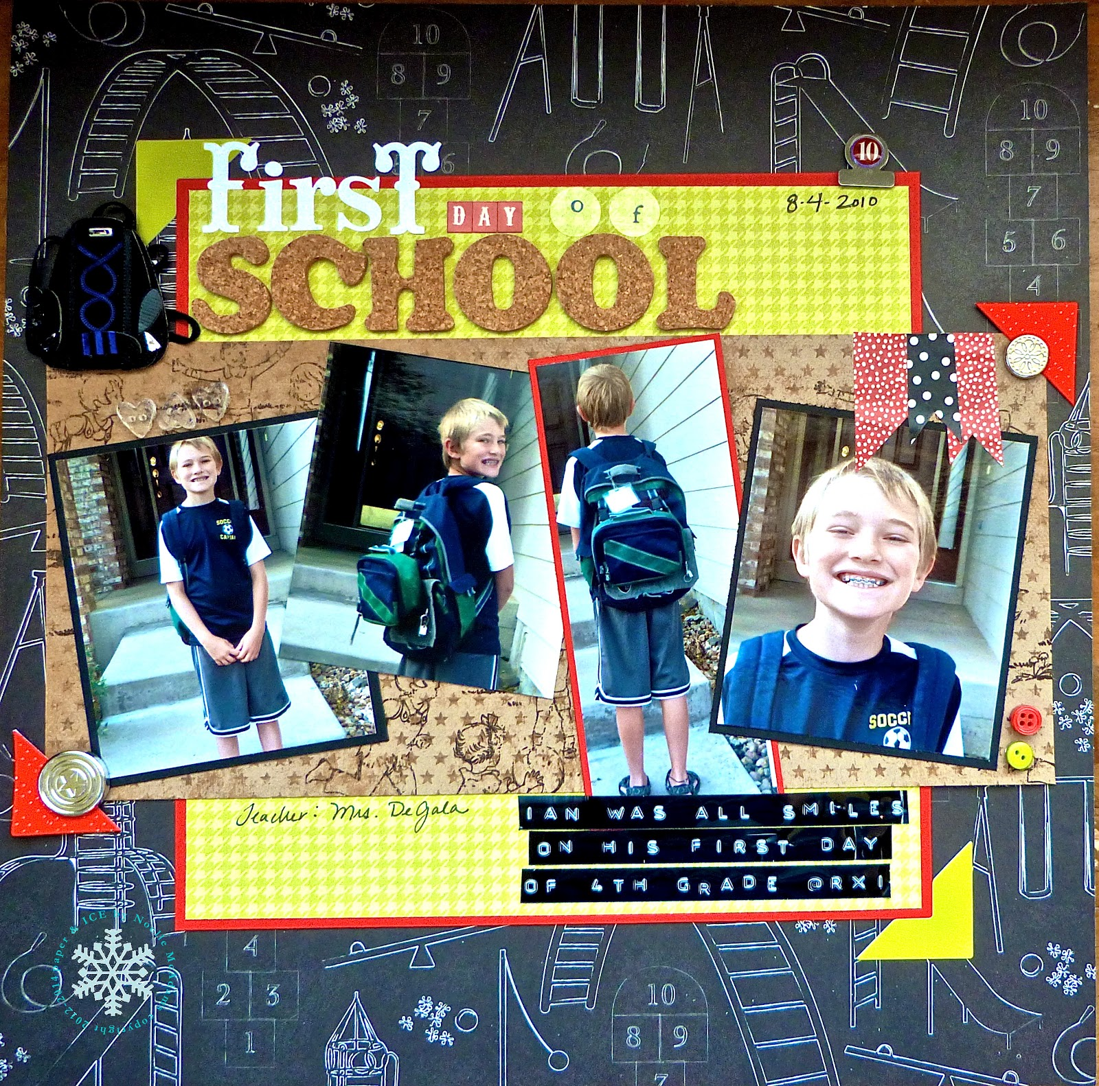 Scrapbook ideas school - First Day Of School Scrapbook Layout