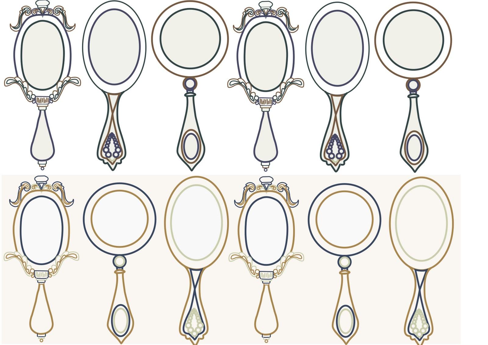 Ornate Hand Mirror Drawing Vintage Hand Held Mirror Ornate Drawing