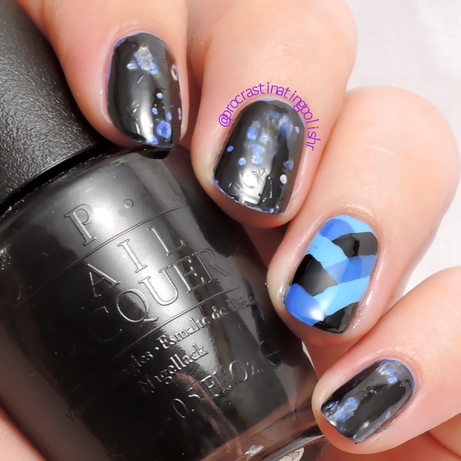 Fish braid accent nail + OPI Black Spotted