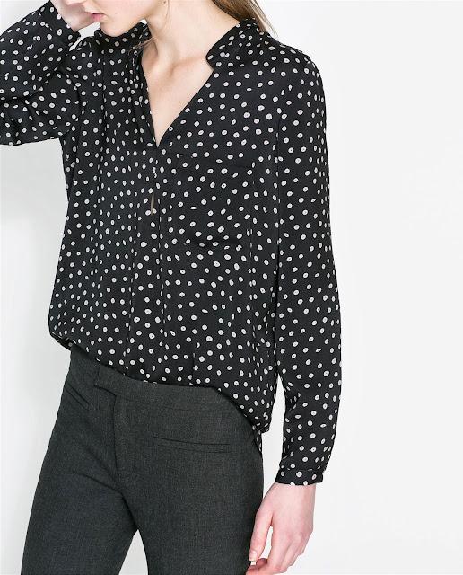zara spotty blouse