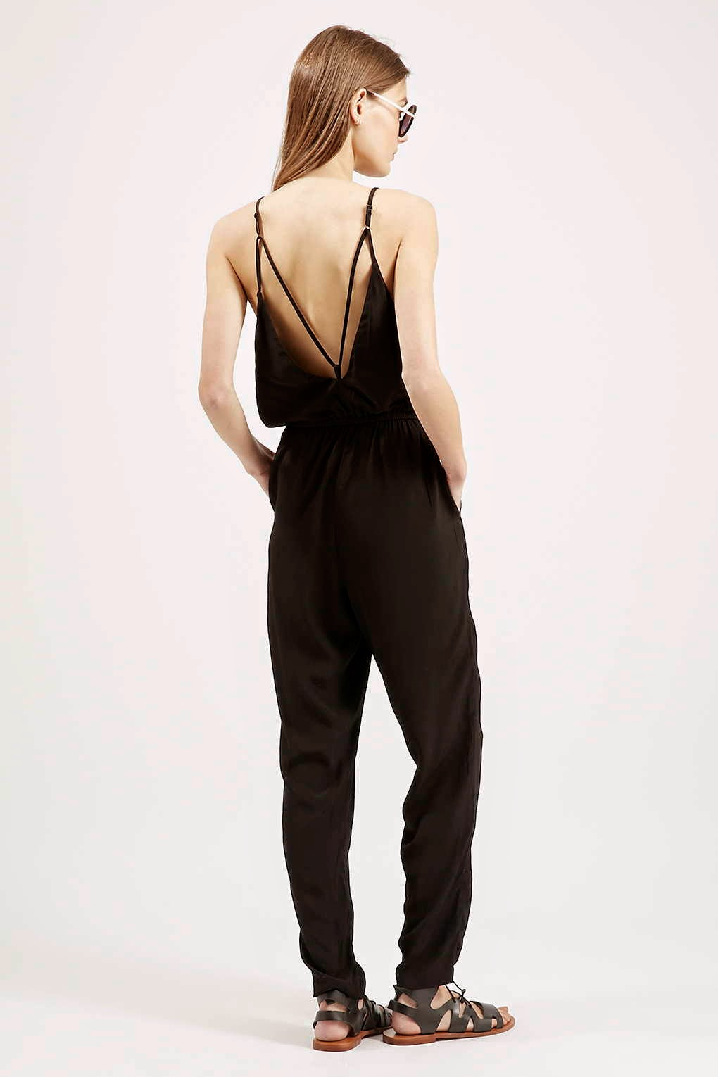strappy black jumpsuit, low back jumpsuit,