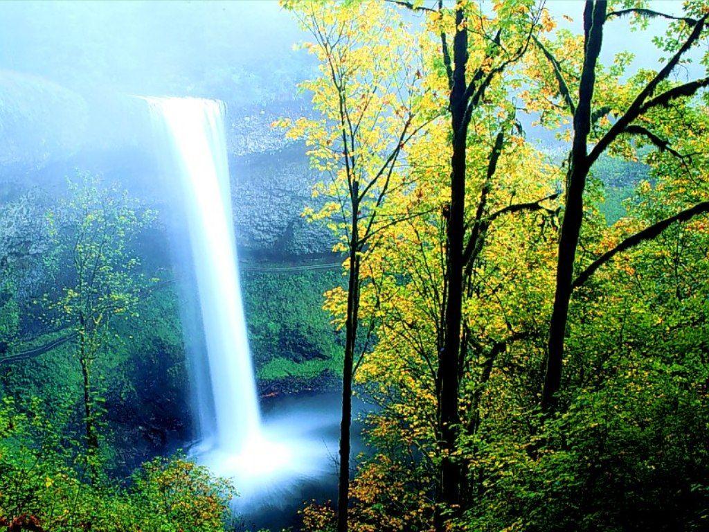 Waterfall Wallpaper Desktop Nature 3d Spring Winter Tropical