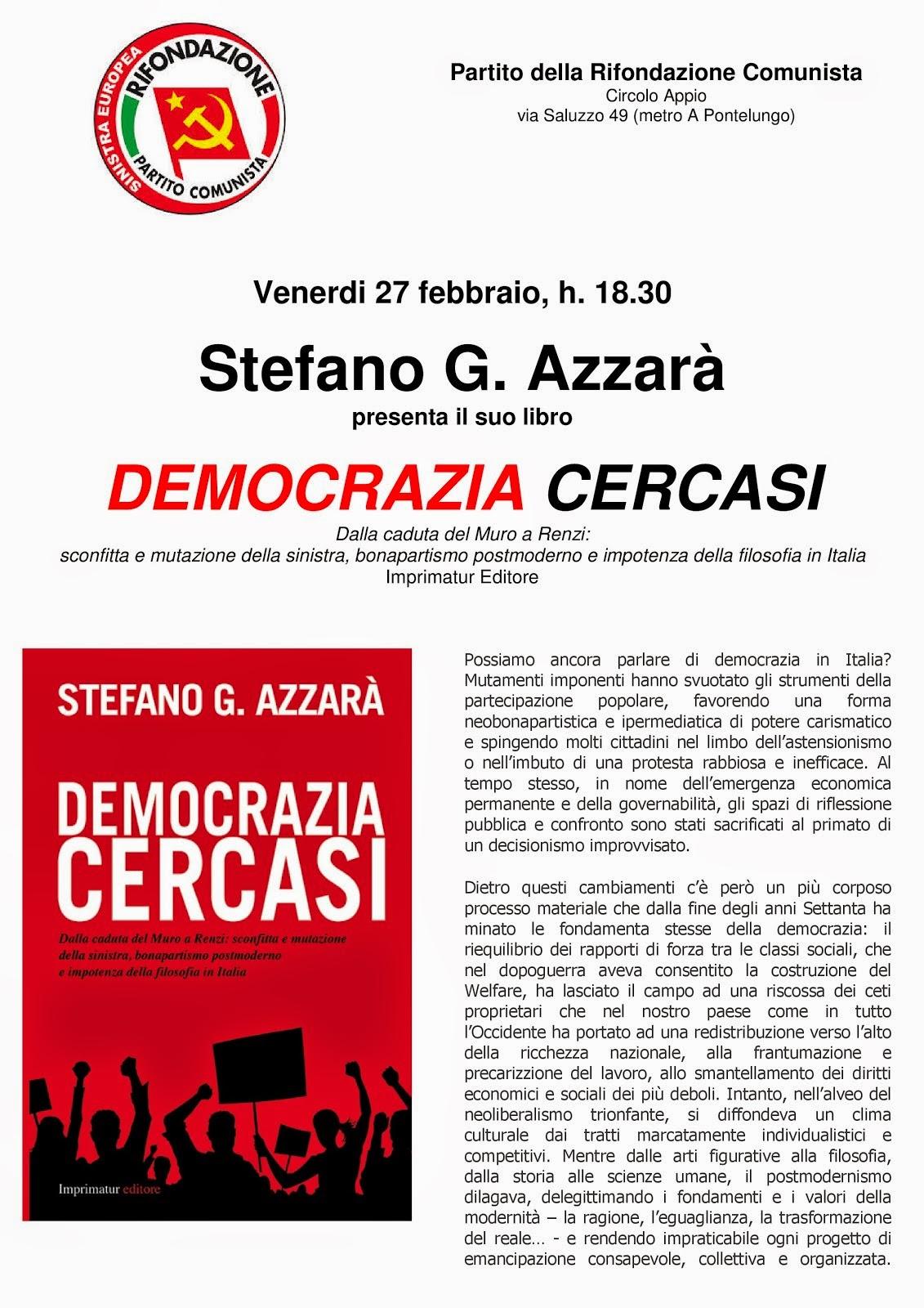 """""""Democrazia Cercasi"""" al circolo PRC Appio di Roma"""