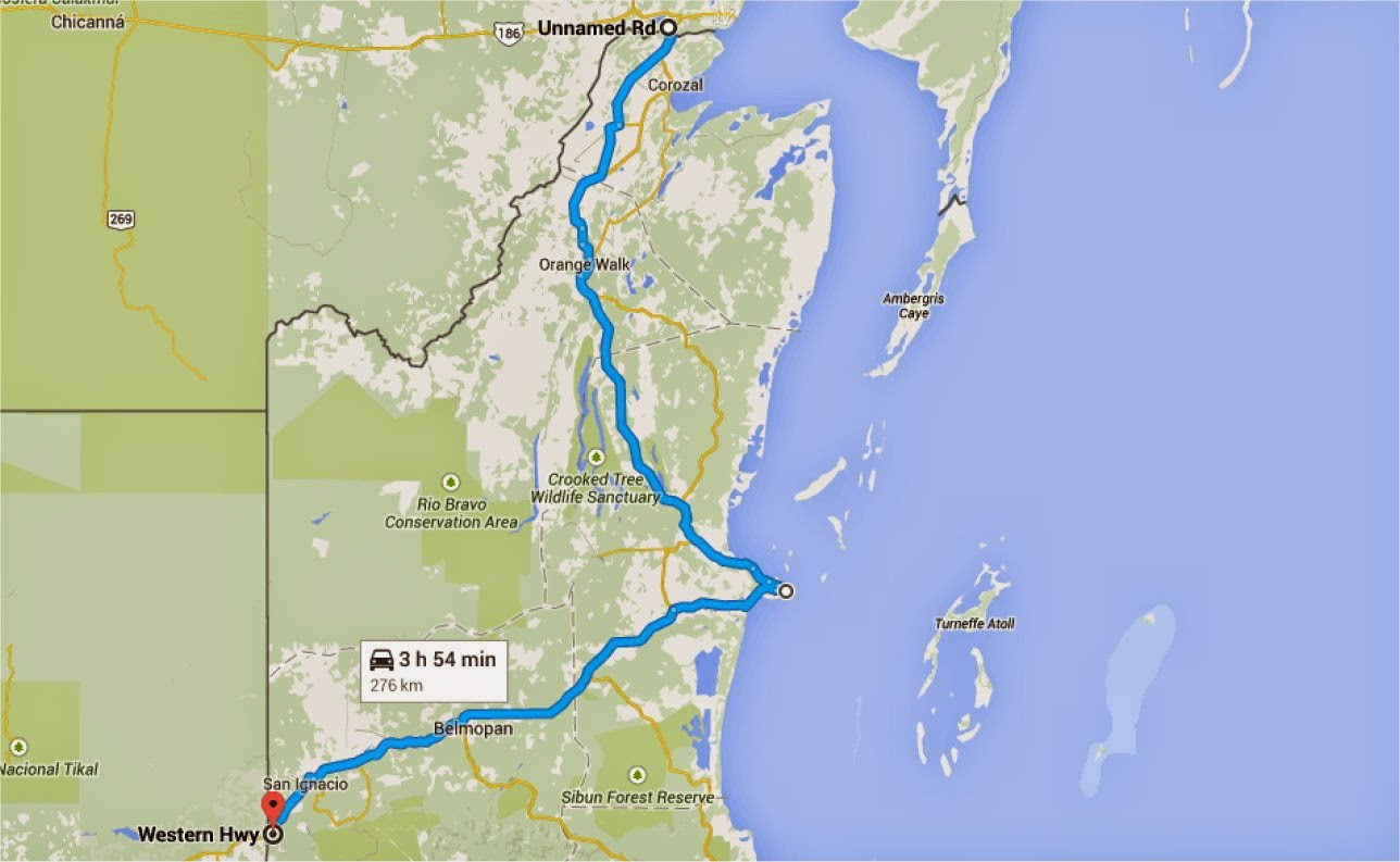 here is the map of the route through belize so much simpler than our route through mexico
