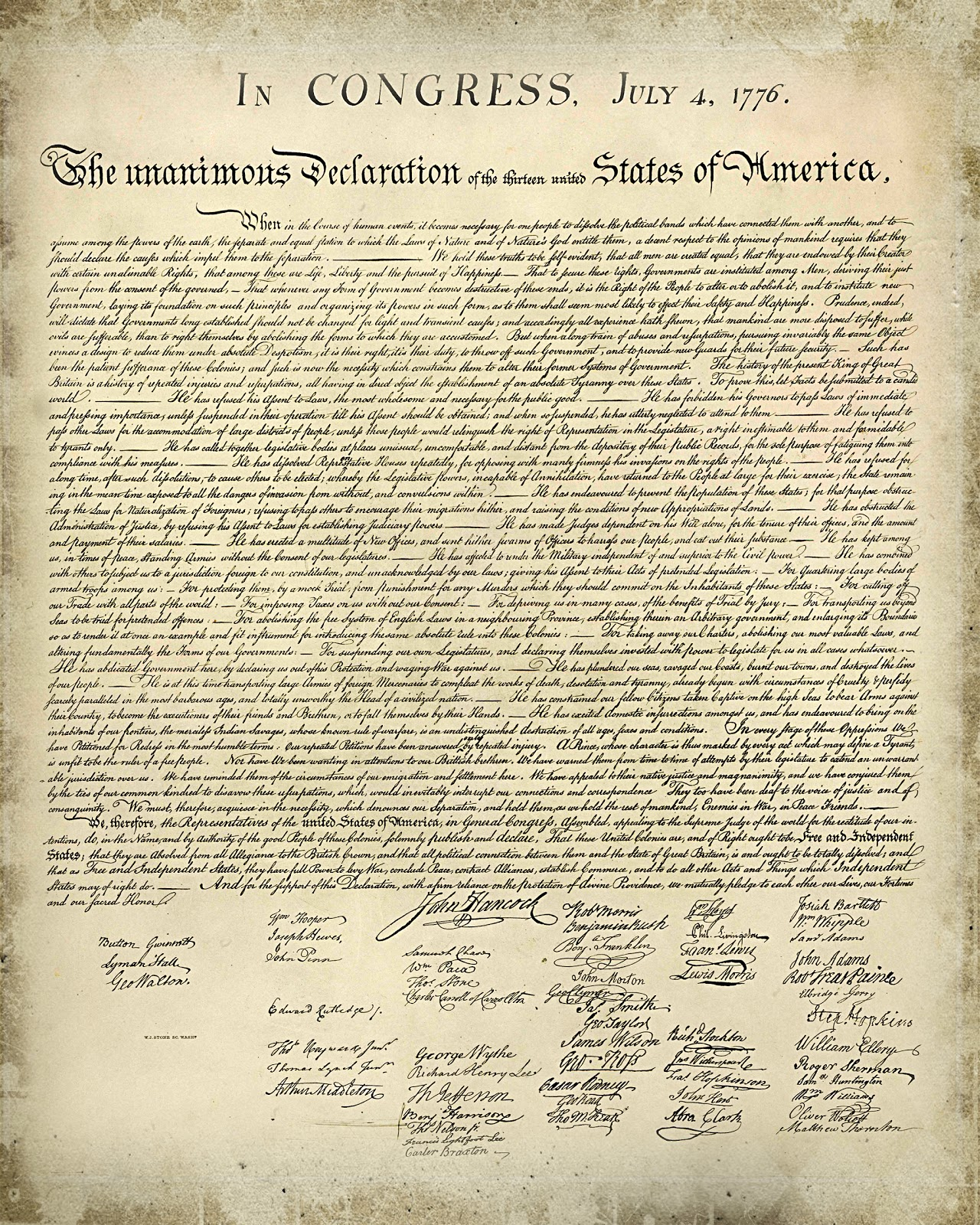 Sizzling image regarding printable declaration of independence