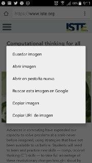 Pantallazo del móvil con las opciones para usar las imágenes