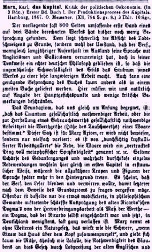 Facsímil de una reseña de El Capital de Karl Marx — Julio, 1868