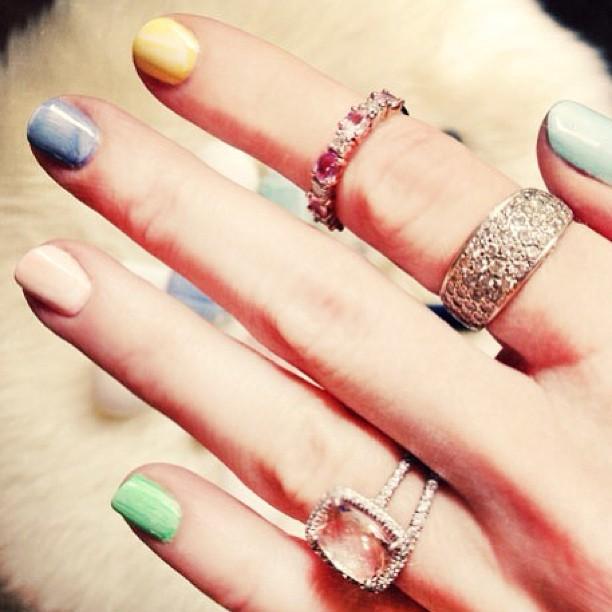 spring nails, rings