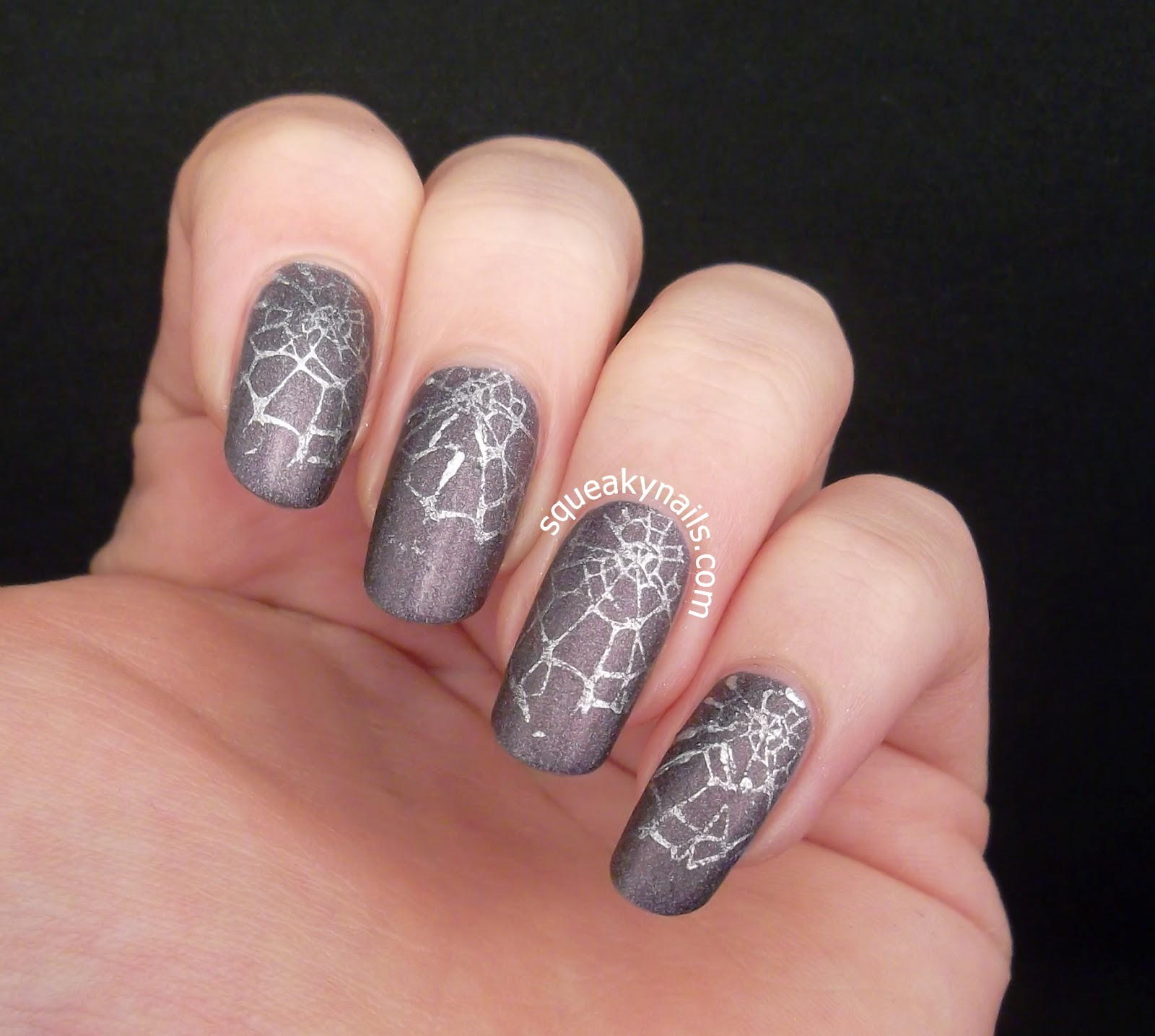 Halloween Nail Art Silver Spiderweb Stamping | Squeaky Nails