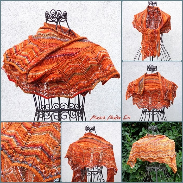 Shawlette in Orange - Tuch in orange