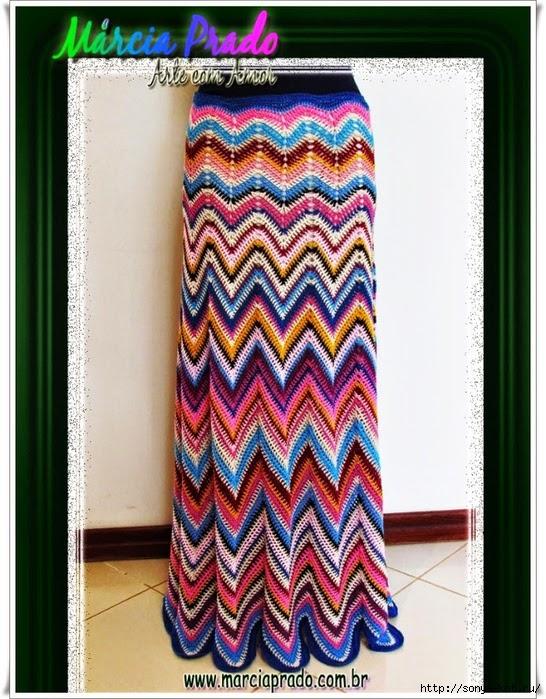 Patrón: Pollera o falda zig zag multicolor al crochet imperdible ...