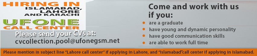 Jobs in Ufone Call Center Agents Jobs