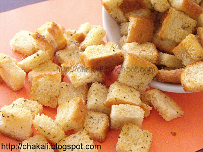 garlic croutons, Homemade croutons recipe, baked croutons, easy crouton recipe
