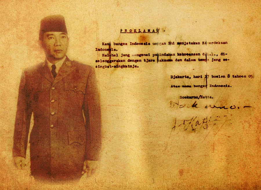 The Declaration of Independence by Soekarno-Hatta on August 17, 1945