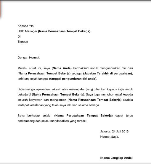 Contoh Surat Pengunduran Diri / Resign Kerja yang Baik dan ...