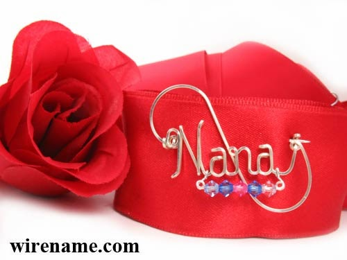 Nana in silver wire a pin brooch with 5 birthstones