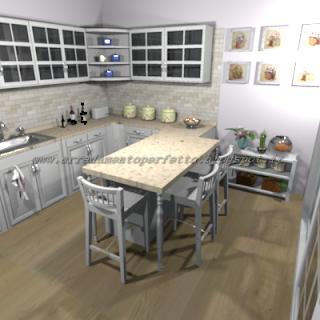 Il bancone con gamboni a cipolla e top in quarzo caratterizzano la cucina provenzale