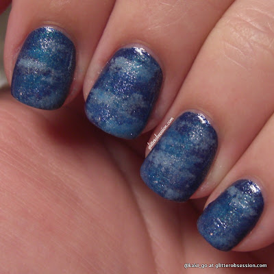 Ocean/Sea blue sponging nail art