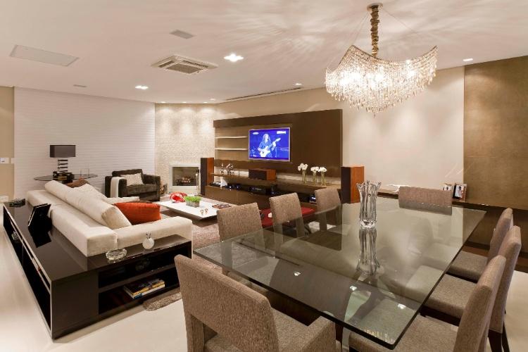 Decorar Sala De Tv E Jantar ~ arte de decorar Abajur e Lustres para sala de jantar e estar